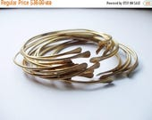 The ULTIMATE (8) Skinny Brass Stacking Bangle // Sexy Bohemian Smooth Oval Stacking Bracelets // Adjustable Open Cuff LUXE Boho Bangle Set
