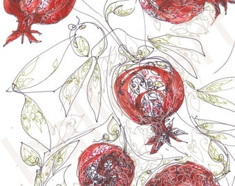 christmas sale Pomegranate Red Art Print, One-of-a-kind-art gift, Ruby Red Art, botanical print, hand  drawing, christmas wall art, illustra