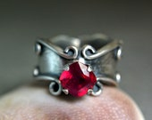 Cushion Cut Ruby Anniversary Statement Ring Renaissance Style, Oxidized Sterling Silver Gypsy Jewelry