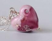 Pink Heart Pendant, Artisan Lampwork Necklace, Sweet Sixteen Jewellery