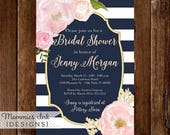 10% OFF SALE Watercolor Peonies Bridal Shower Invitation, Navy and White Stripes Shower Invitation, Watercolor Pink Roses, Gold Glitter Invi