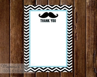 10% OFF SALE Little Man Thank You Note, Mustache Baby Shower, Little Man Baby Shower, Mustache Printable -Folded or Flat, Mustache Thank You