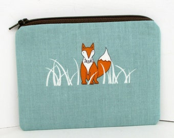 Fox Zippered Pouch, Sly Fox in the Grass, Small Zippered Coin Purse, Organic Fabric