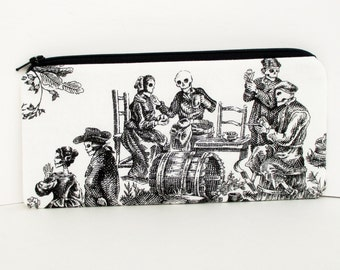 Long Zipper Pouch, Toile of the Dead in Black, Skull Pencil Pouch