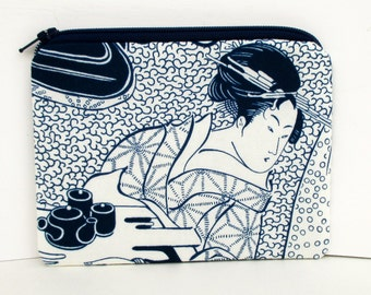 Japanese Geisha Woman, Small Zipper Pouch, Indigo Blue Coin Purse