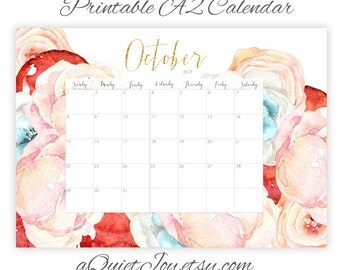 October 2017 Calendar Colorful