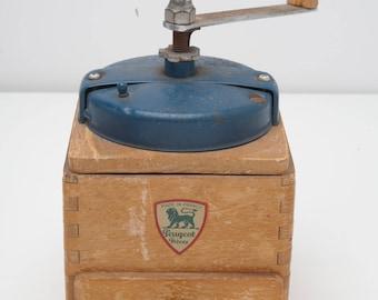 1940's 50's Vintage Peugeot Freves Coffee Bean Grinder Mill Blue Color Herb Grinder Ships from USA