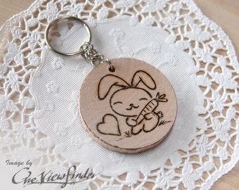 Wooden Charms, wine charm,  Rabbit Wooden Keychain, Bunny
