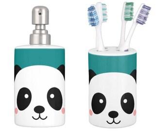 KAWAII PANDA TEAL Matching Soap Dispenser & Toothbrush Holder - Kids Bathroom Accessories, Kids Shower, Kids Bathroom