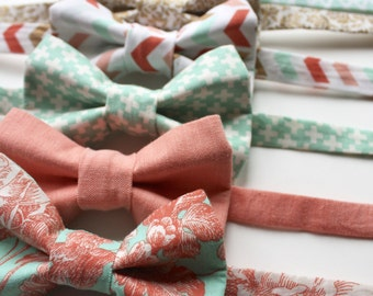 Little and Big Guy BOW TIE - Spring Easter - Mint and Coral Collection (Newborn-Adult) - Baby Boy Toddler Teen Man