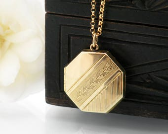 Antique Locket | Gold Art Deco Era Octagonal Locket | 9ct Gold Front & Back Wedding Locket | Gold Octagonal Locket - 20 Inch Chain Included