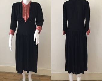 FLASH SALE 1930s Black Crepe Dress with Salmon Satin Bib and Cuffs S Original Vintage
