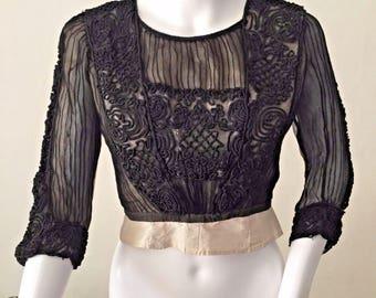 FLASH SALE Edwardian Sheer Black Stripe Silk Bodice Blouse | Soutache Embroidery | XS