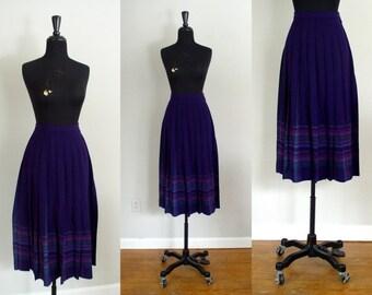 Vintage 1980's Pendleton Skirt / 80's Purple & Green Plaid Wool Pleated High Waist Midi Skirt