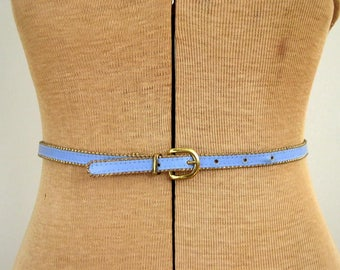 Vintage 1950's Belt / 50's Baby Blue Skinny Belt with Brass Rope Bead Trim