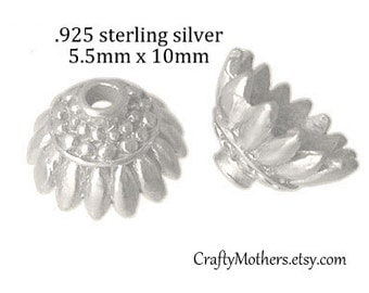 Use TAKE10 for 10% off! 2 Bali Sterling Silver Sunflower Bead Caps, 10mm x 5.5mm (bright finish), artisan-made jewelry supply