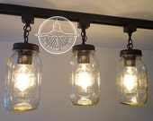 TRACK LIGHTING Mason Jar Light Trio NEW Quarts - Chandelier Kitchen Island Country Remodel Update Flush Mount Ceiling Fixture by LampGoods