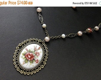 VALENTINE SALE Rose Cameo Necklace. Victorian Rose Necklace. Beaded Necklace. Victorian Necklace. Pearl Necklace. Bronze Necklace. Handmade