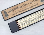 Alice in Wonderland Pencils - Personalised Pencil Set - Book Lover Gifts - Five Book Quote Pencils - Bookworm Gifts - Literary Gifts