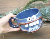 Stoneware Soup Mug in Blue. Winter Chili Crock Cereal Bowl Accident Prone Face Mug Handmade Ceramic Pottery Bowls with Handle Sense of Humor