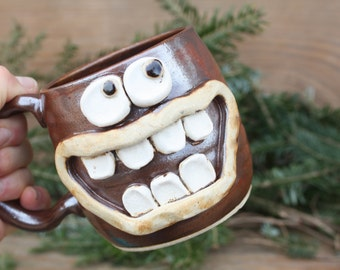 Coffee Lover Bacon Lover Mug. Cinnamon Red Pottery Coffee Cup Man Husband Gift for Him Funny Big Smile Googly Eye Face Ceramic Stein.