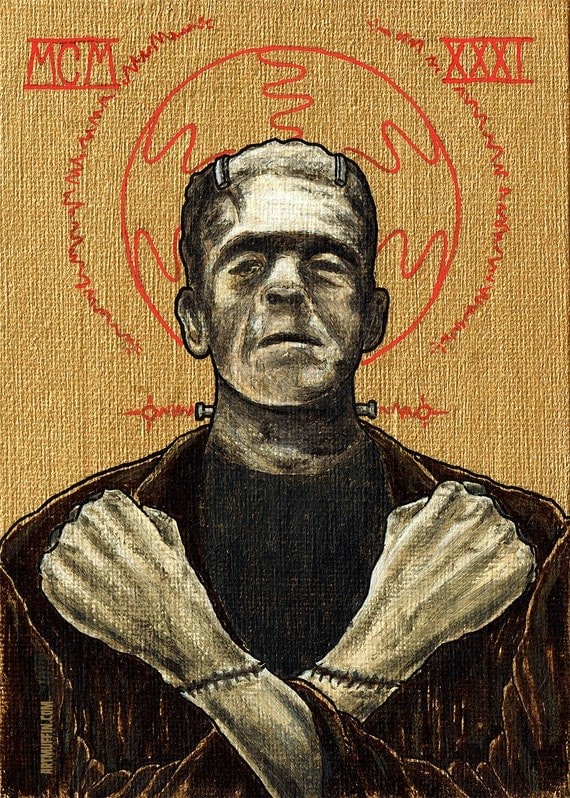 "Religious Horror Icon-Frankenstein's Monster-5""x7"" Print"