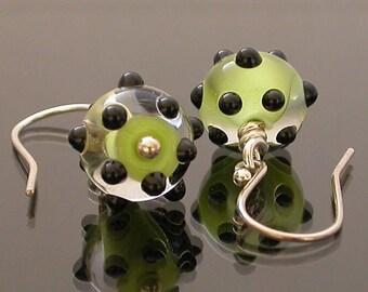 Dangly Lampwork Earrings, lampwork earrings, glass earrings, green earrings, polka dot earrings, silver earrings, handmade earrings, artisan