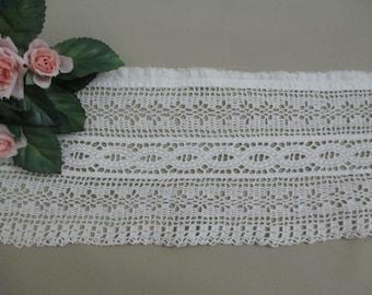 Wide Vintage Antique Lace Trim White Hand Crochet