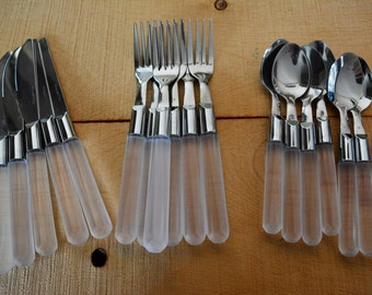 Vintage clear frosted silverware stainless steel Stanley Roberts City Lights Set of 17