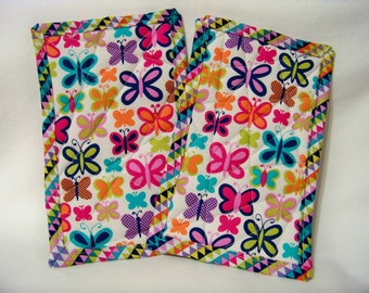 PK Quilted Plate Pad Set in Sweet Butterfly - Pot Holders - Hot Pad - Plate Pads - Set of Two - Ready To Ship