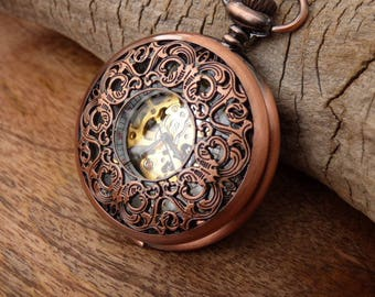 Copper Pocket Watch plus Watch Chain - Engrave 1-3 lines - Gold Arabic - Copper Watch - Groomsmen Gift - Gift Boxed - Item MPW253