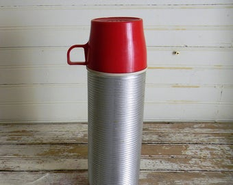 Vinatge Thermos, 1960s Stainless Steel Thermos, Red Cap Thermos, Pint Thermos, Vintage Camping Grear, 1960s Camping Gear, Outdoors Gear
