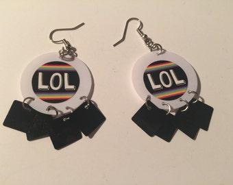 LOL sequin Earrings, Laughing Out Loud Earrings, Laughing Out Loud Dangley Earrings, Laughing out loud dangles, lol dangles, lol earrings