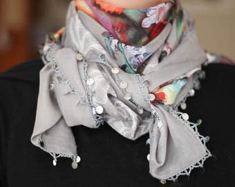 Handmade - Turkish Scarf With Beaded - Yemeni - Gray