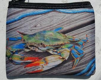 Mr Jimmy Blue Crab art Coin Purse zippered pouch neoprene