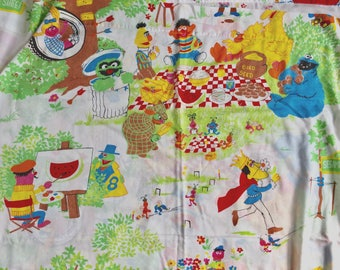 Vintage 1980s Childrens Bedding / Sesame Street Twin Flat Sheet / The Gang Enjoy the Outdoors, Primary Colors Repurpose Upcycle