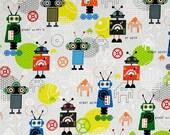I BOT Robots Multi Colored Lego Inspired Robot Fabric Retro Mod Mid Century RR