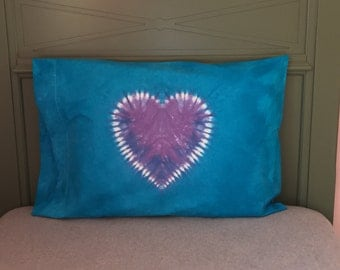 Heart Tie-Dyed Pillowcase - Turquoise with Lavender Heart