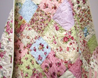 Shabby Cottage Chic Baby Girl Quilt-Nursery Crib Bedding-Victorian Floral Patchwork Blanket-Handmade Pastels