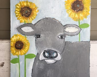 Cow painting, folk art cow painting with sunflowers, blues and yellows ,nursery art, farmhouse decor, original painting, 24 x 30