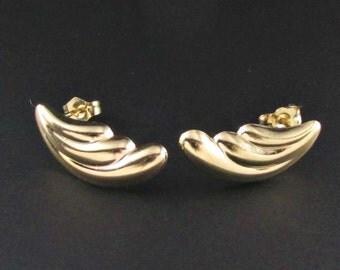 14k Gold Earrings, 14K Gold Scalloped Earrings, Lightweight Earrings, Real Gold Earrings