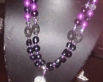 Agate and Freshwater Pearl Double Strand Necklace
