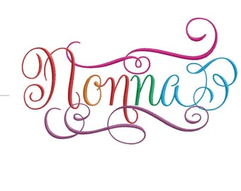 Nonnna Calligraphy Script 2 Grandparent Embroidery Design- Instant Email Delivery Download Machine embroidery design
