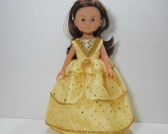 13 inch doll clothes made to fit dolls such as Corolle Les Cheries doll clothes, Yellow Gold Fancy Princess Dress, 03-1919