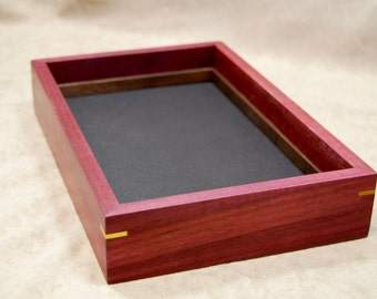 Valet tray box in purpleheart with yellowheart accents and walnut insert