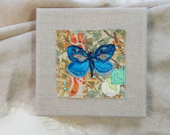 Butterfly of Blue  - original fabric collage