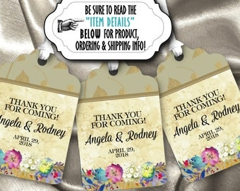 12 Favor Tags, Gift Tag, Watercolor Floral Design, Flowers, Birthday Party, Bridal or Baby Shower, Wedding