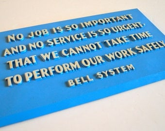 Vintage Bell System Safety Creed Sign Wall Hanging Blue With Raised Letters