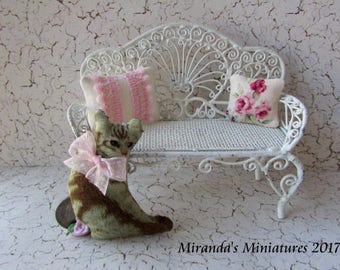 Dollhouse Miniature Cottage chic cat kitty pillow set pink roses