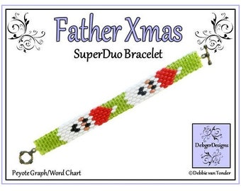 Beading Pattern, Tutorial, Bracelet - FATHER XMAS SUPERDUO